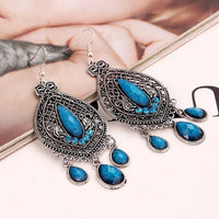 Bohemian Ear Drop Earrings Hollow Leaf Rhinestone Tassels Earrings Ethnic Jeweley for Women