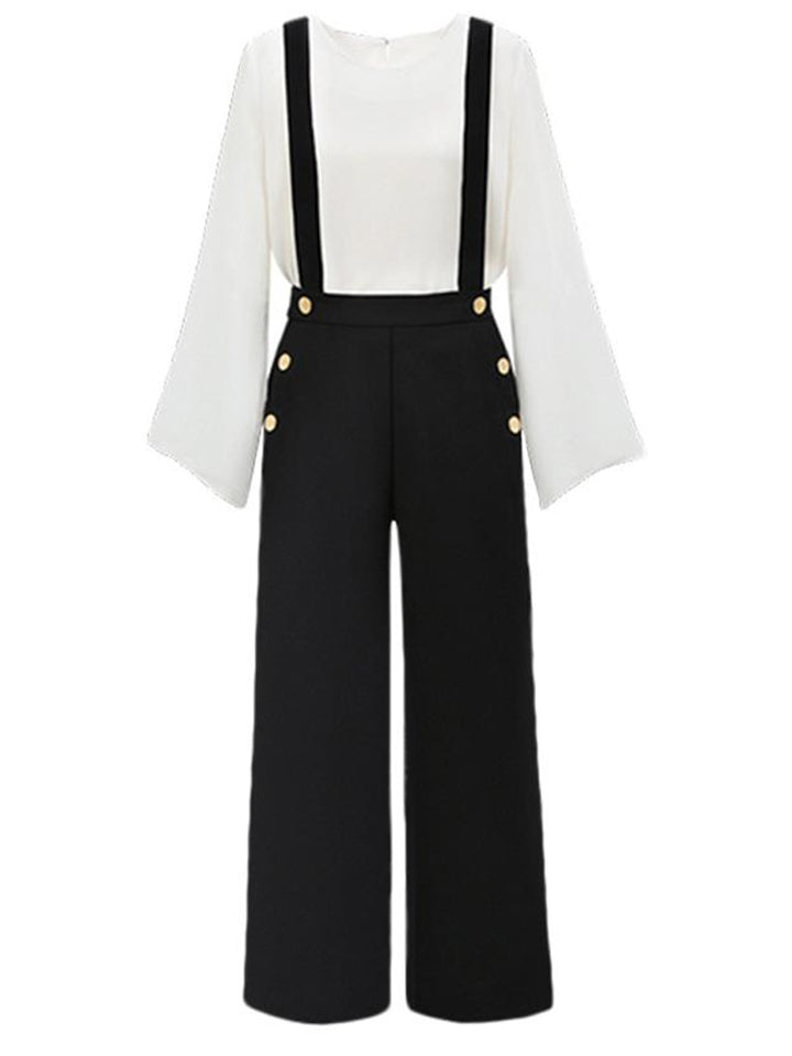 Women's Casual High Waist Pants Pockets Suspender Jumpsuits