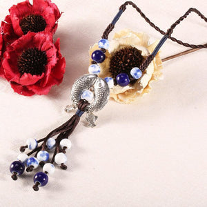 Ethnic Style Adjustable Handmade Long Necklace Fish Pendant Ceramic Drop Tassel Necklace