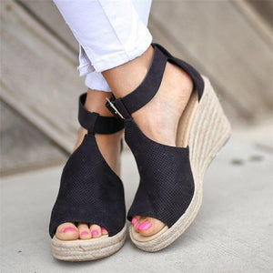 Women Wedges Sandals with Adjustable Buckle