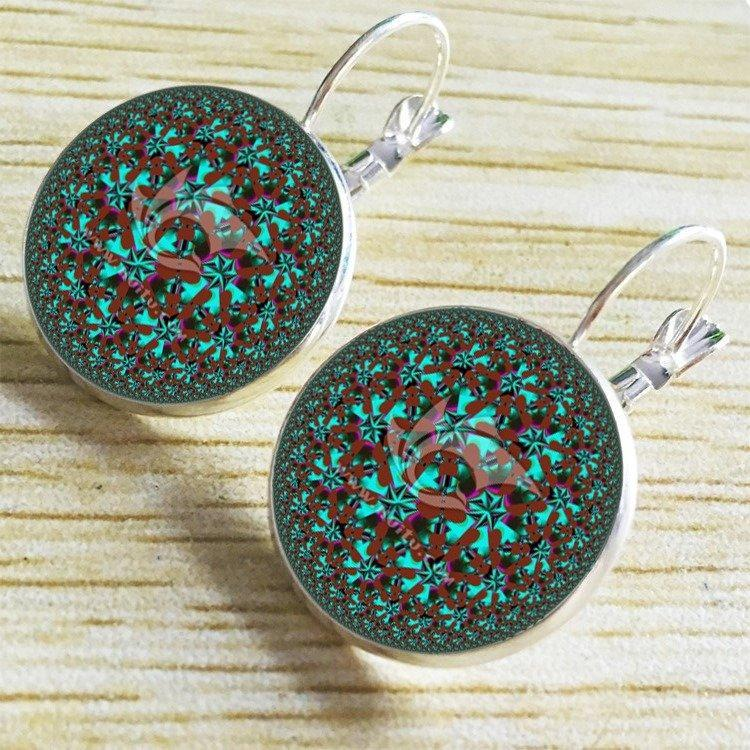Bohemian Green Flower Earrings Round Shape Drop Earrings Retro French Earrings For Women