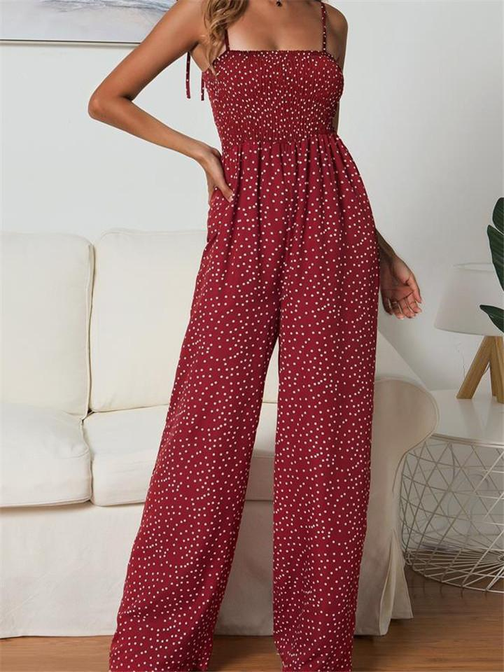Polka Dot Bandage Loose Pants Jumpsuit