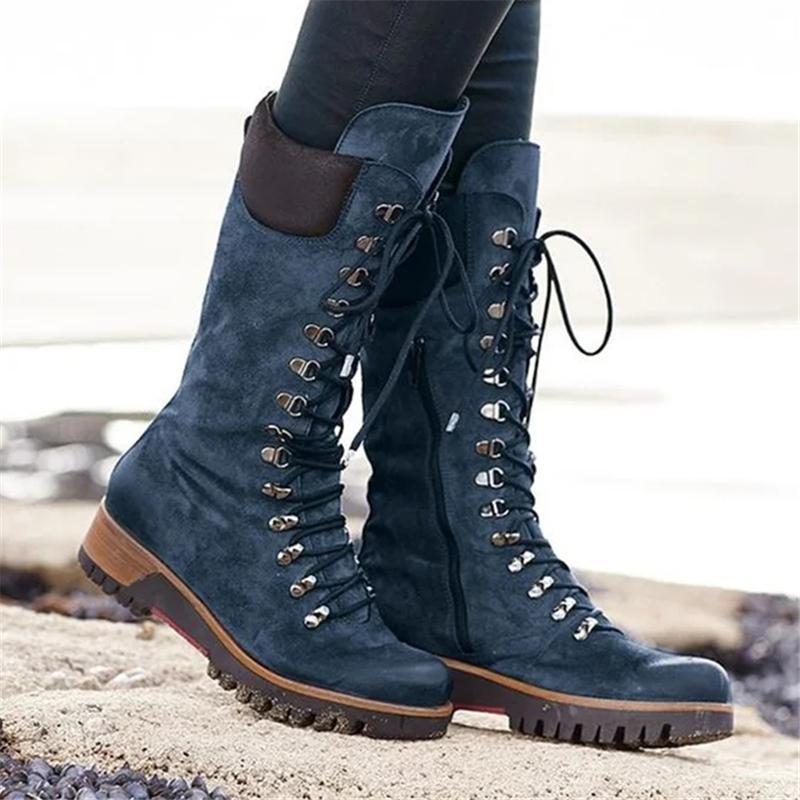 Women's Lace-up Leather Mid-Calf Boots