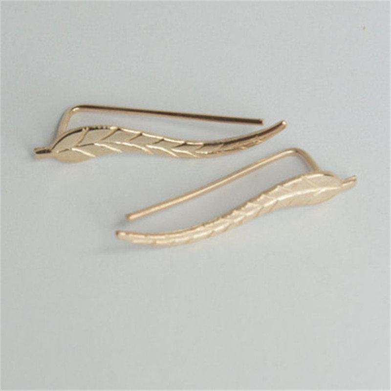 Alloy Climber Leaves Cuff Stud Earrings