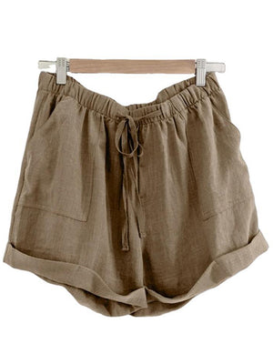 Drawstring Waist Loose Solid Color Casual Cotton Shorts For Women