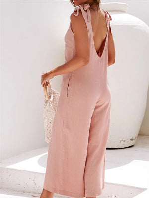 Stylish Solid Color Sleeveless  Loose Jumpsuit For Women