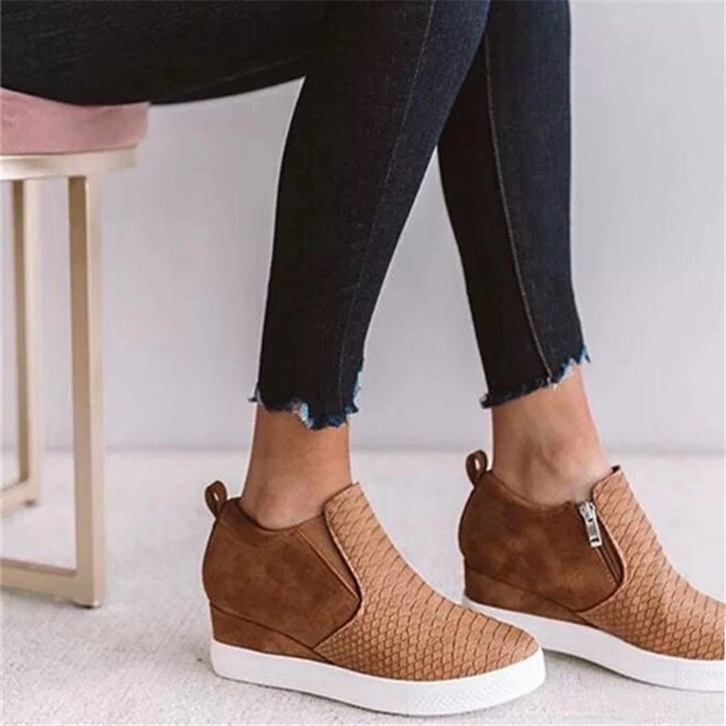 Comfy Wedge Heel Shoes With Side Zippers