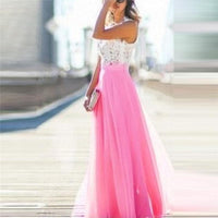 Lace Chiffon Maxi Dress