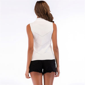 Solid Sleeveless Knitting Shirt