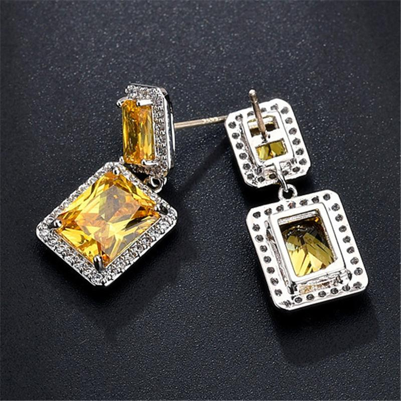 Elegant Zircon Plated Square Shaped Dangled Earrings