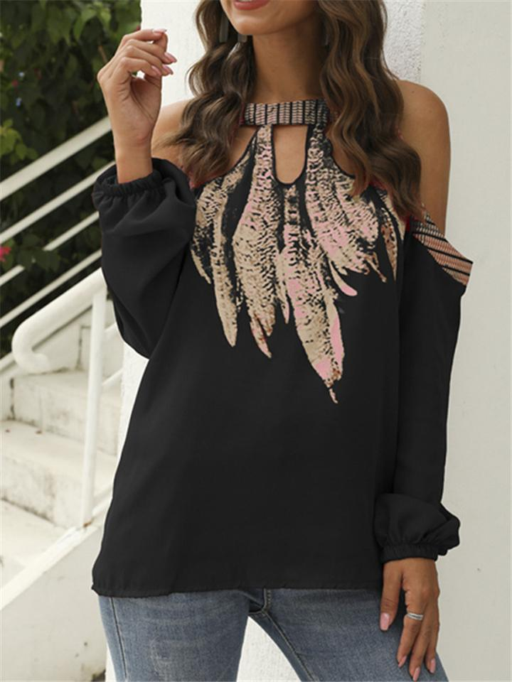 Fashion Chiffon Printed Long Sleeve Cold Shoulder Shirt