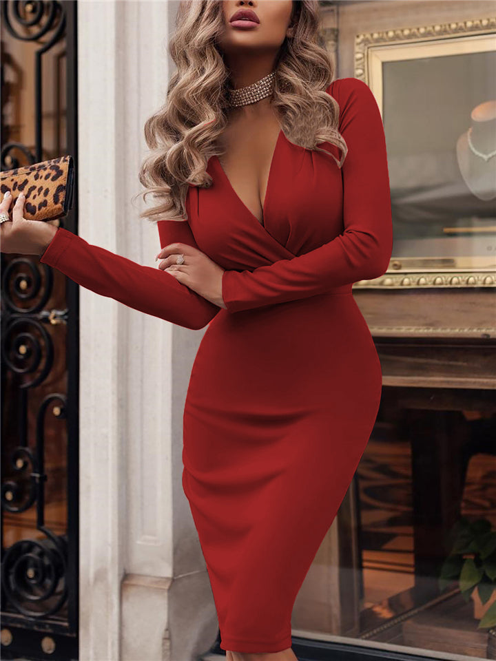Stylish Wrap Neck Solid Color Long Sleeve Ruched Midi Length Dress