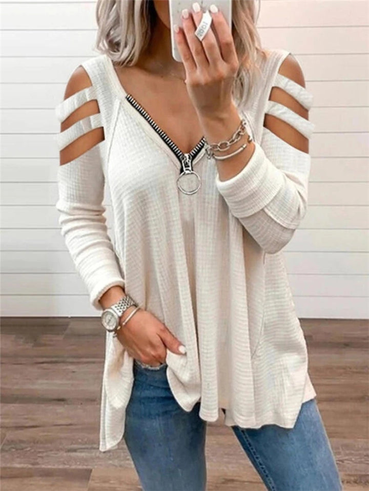 Casual Style V Neck Front Zipper Shoulder Cutout Pullover Tops