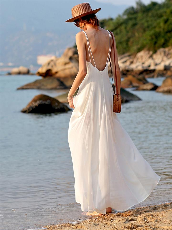 Bohemian Sexy Backless Halter Solid Color Dress