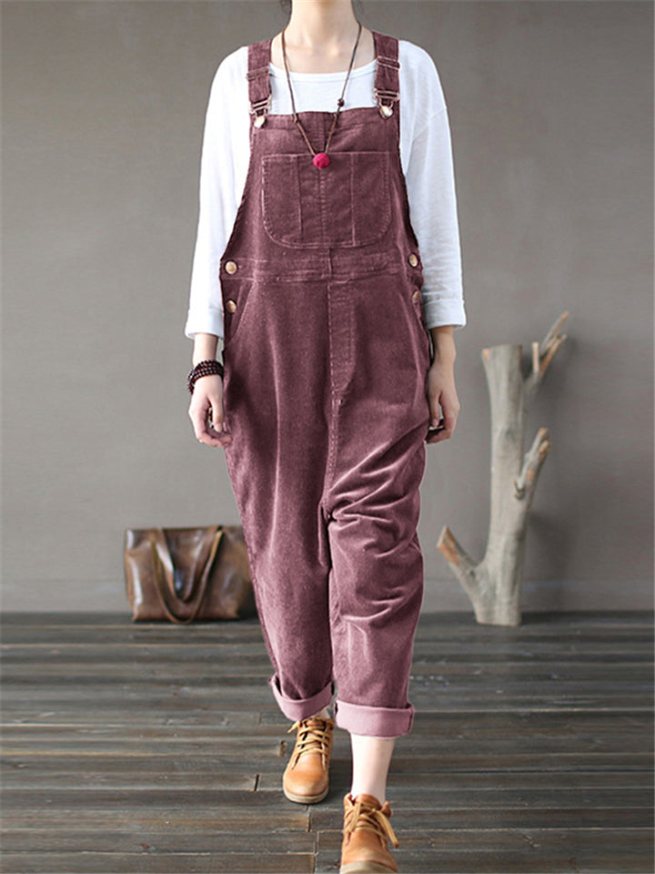 Women's Casual Style Multi-Pocket Corduroy Strappy Overalls