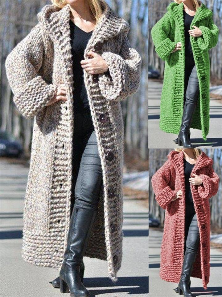Ultra Warm Long Knit Cardigan Sweater with Hood