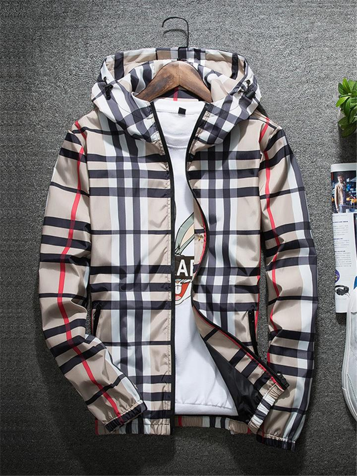 Men's Fashion Plaid Full Zip Stand-Up Collar Hooded Jacket Coat