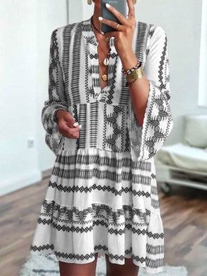 Summer Fashion Women Bell Sleeves Printed Holiday Dress