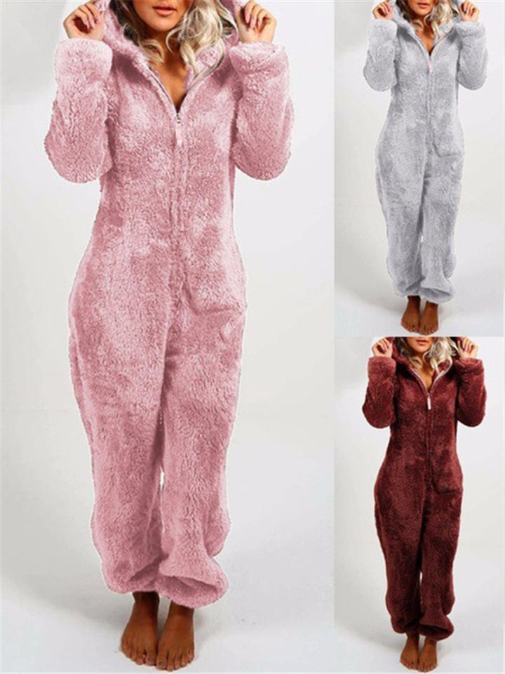 Cozy Faux Fur Pajamas Jumpsuits with Hood