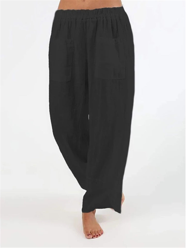 Casual Plus Size Solid Pockets Pants