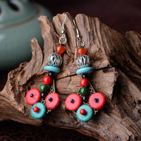 National Style Ancient Wood Exquisite Earrings