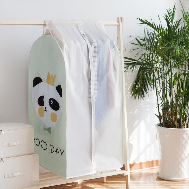 Cute Pattern Waterproof Wardrobe Cover Clothes Dust Hanging Storage Bag Transparent Coat Suit Cover
