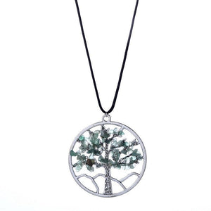 Women's Natural Stone Life Tree Pendant Necklace