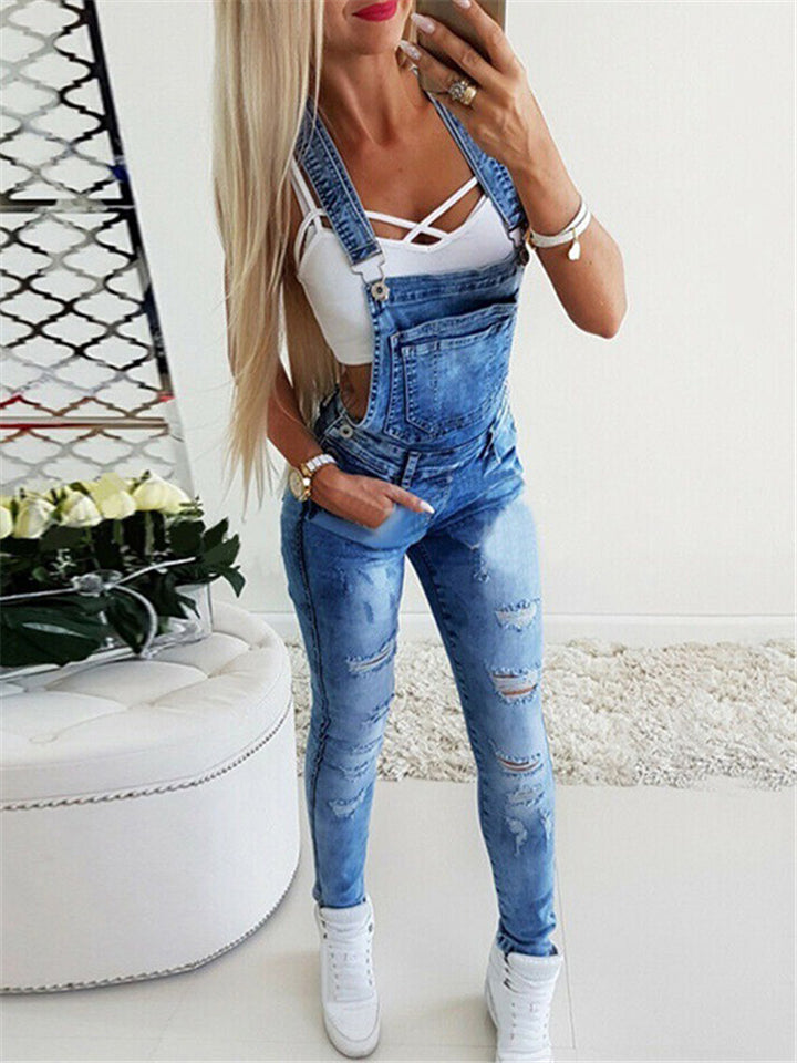Slim Fit Adjustable Strap Ripped Washed Effect Denim Bibs