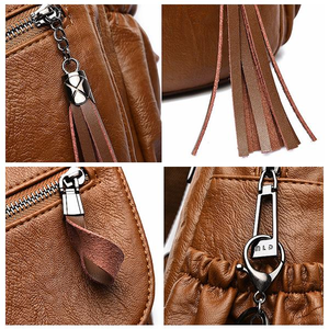 Women's PU Leather Travel Leisure Backpack With Cartoon Tassel