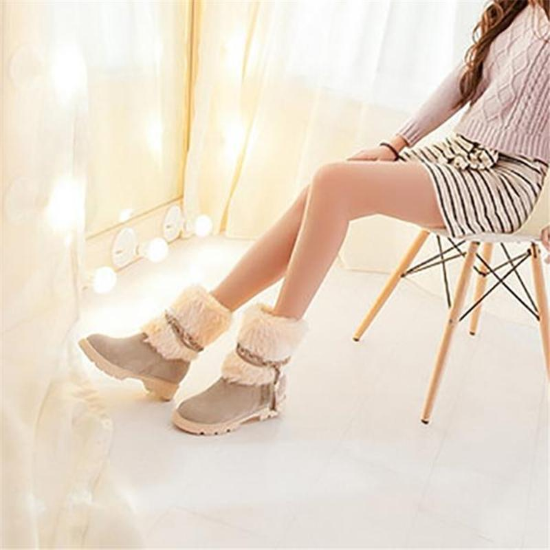 Fashion Low Heel Round Toe Snow Boots