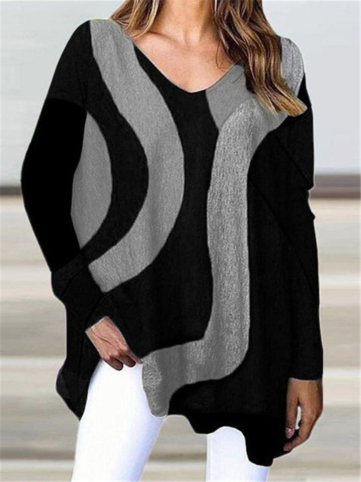 Casual Oversized V Neck Contrasting Long Sleeve Pullover Tops