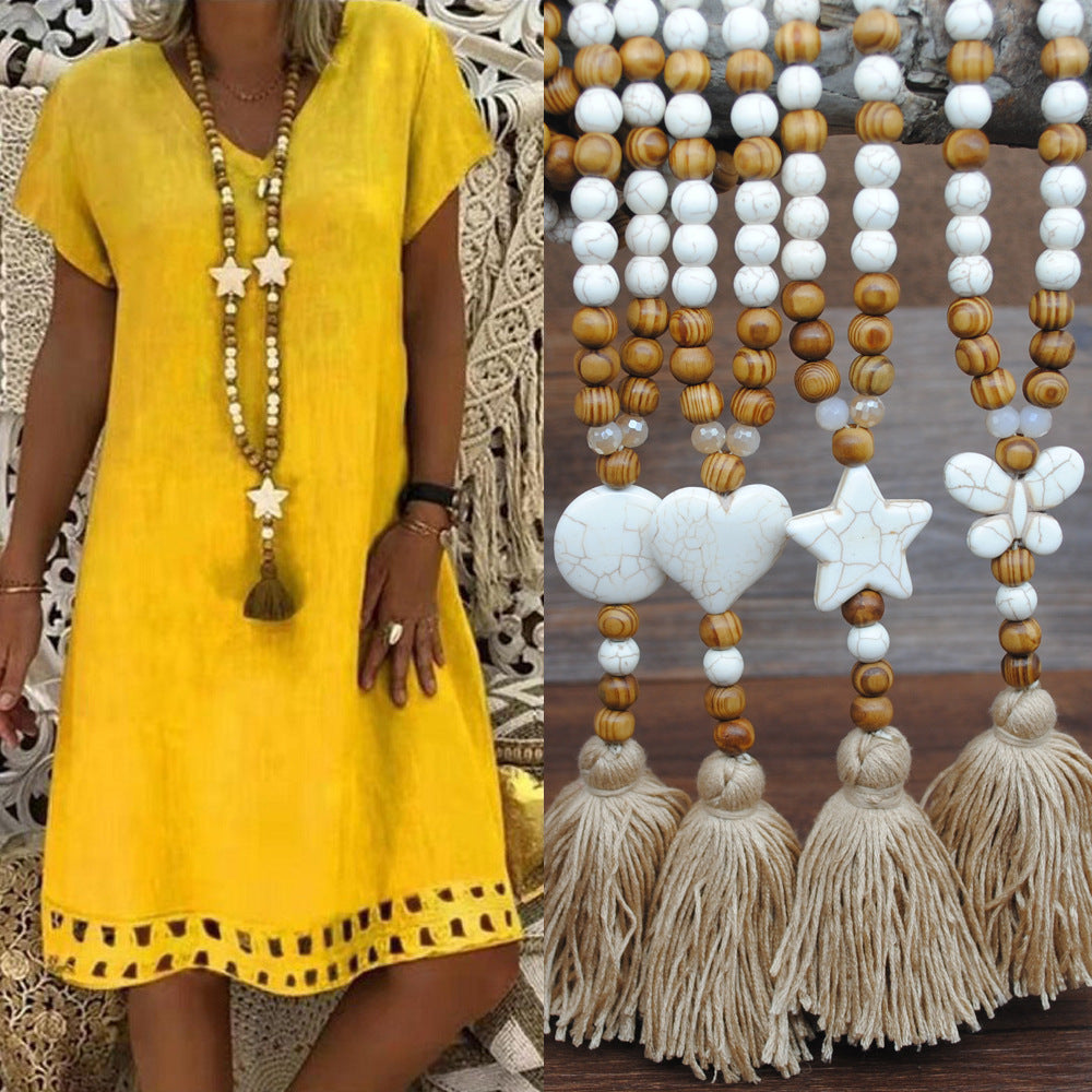 Boho Style Fashion Tassel Beaded Long Necklaces