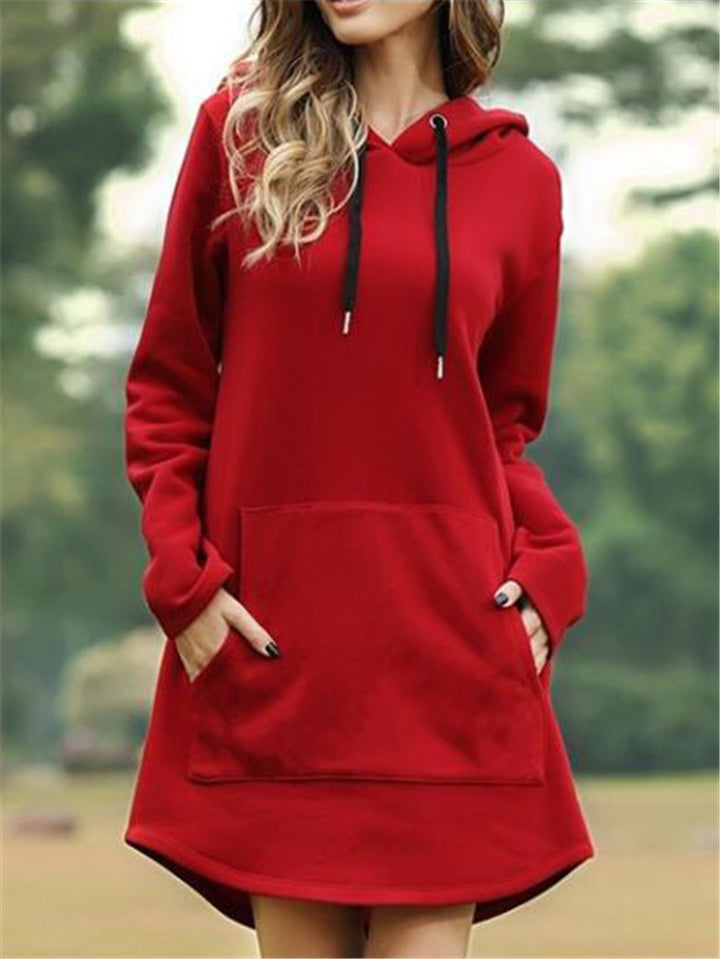 Loose Fit Front Pouch Pocket Solid Color Drawstring Hooded Dress