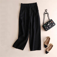 Women Linen Casual Pants Solid Pockets Elastic Straight Pants