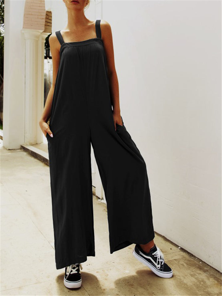Sling Bandeau Loose Jumpsuits With Pocket