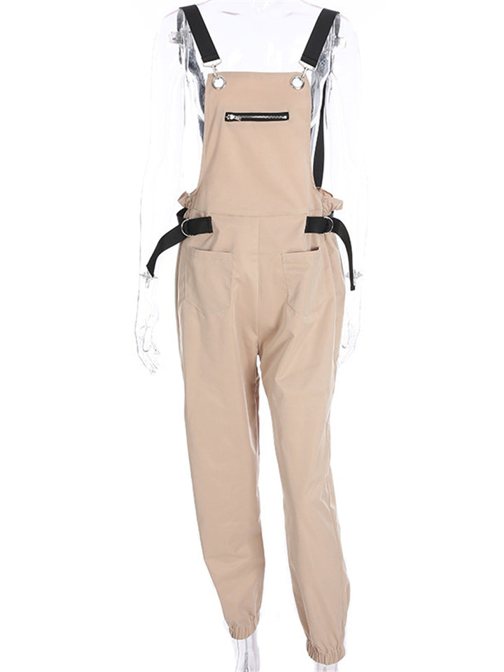 Casual Fit Front Pocket Straight Neck Cargo Jumpsuits