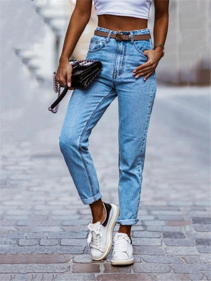 Casual Style Multi-Pocket Straight Leg Denim Pants