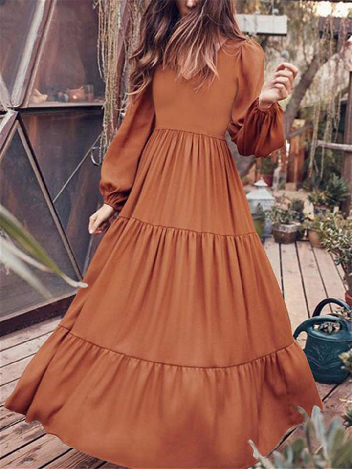 V Neck Long Sleeve Patchwork Solid Color Dress
