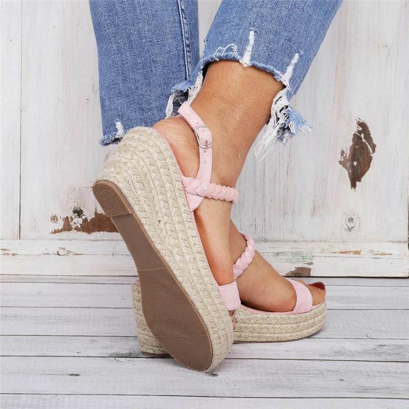 Casual Open Toe Buckle Wedge Sandals
