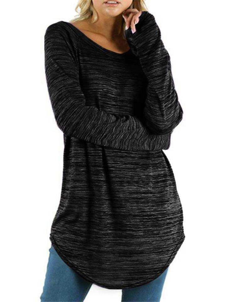 Women's Plus Size Solid Round Neck Long Sleeve Shirt For Autumn