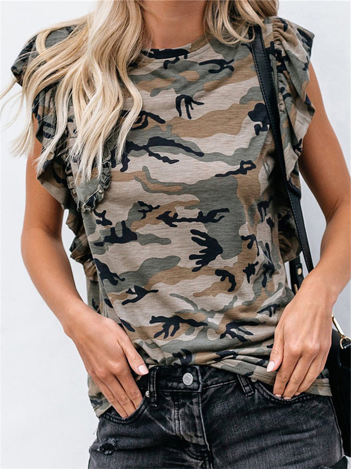 Camouflage Tie Dye Lotus leaf Crew neck Loose T shirt