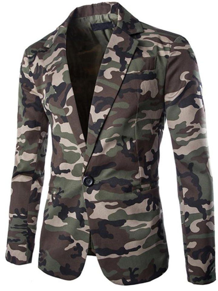 Men's Notched Lapel Collar Camouflage Printed Button Up Blazer