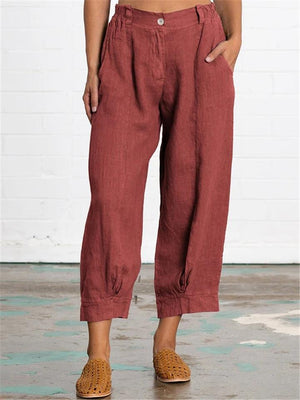Casual Loose Cotton Linen Solid Color Pockets Pant