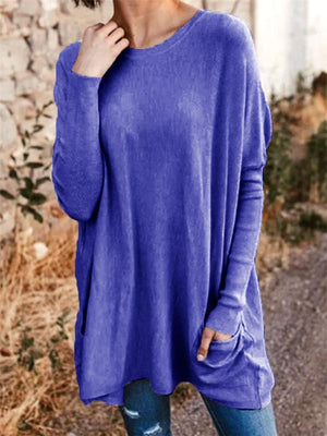 Loose Long Sleeve Solid Color T-Shirt with Pockets