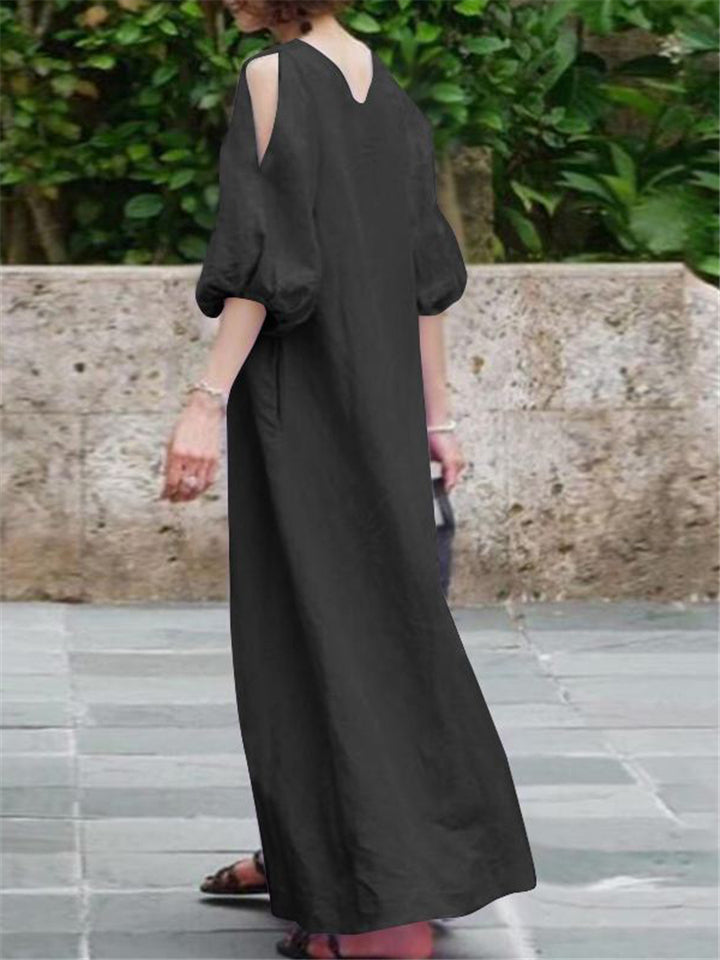 Oversized Cotton Linen Shoulder Cutout Balloon Sleeve Maxi Dress