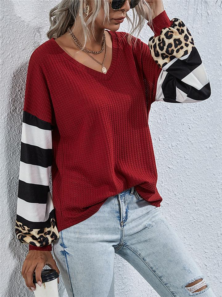 Casual V Neck Stripe Leopard Patchwork Long Sleeve T-shirt