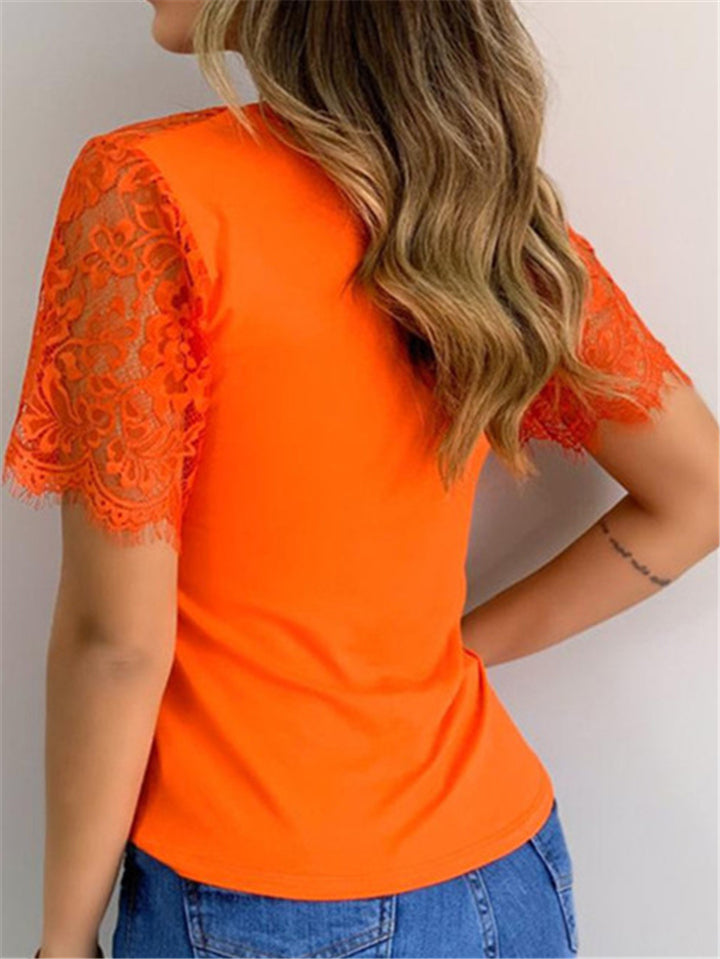 Casual Fit V Neck Floral Lace Short Sleeve Pullover T-Shirt