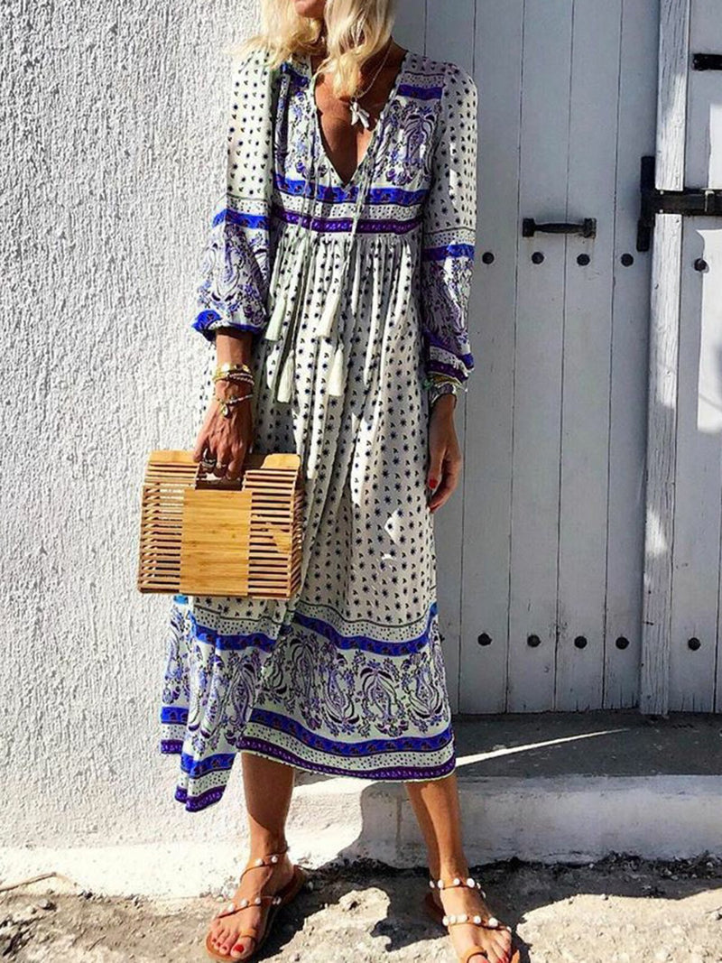 V-Neck Women Dresses Daytime Boho Paneled Dresses