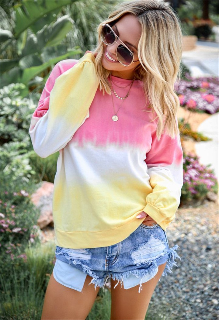 Rainbow Color Gradient Printed Long Sleeve Blouses