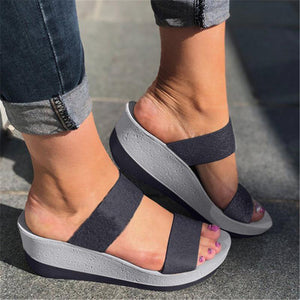 Casual Chunky Heel Slip-On Peep Toe Women Sandals